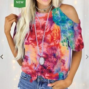 Brightly Colored Tie Dye One Shoulder T-Shirt